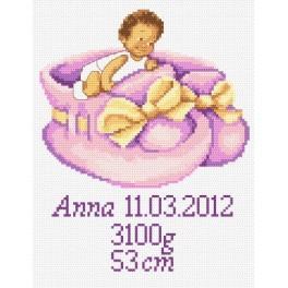 Kanwa z nadrukiem - Metryczka dla dziewczynki