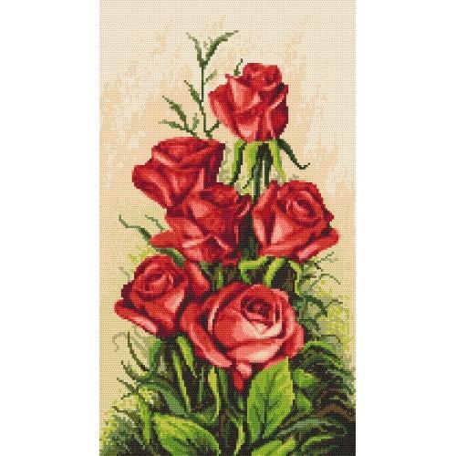 Kanwa z nadrukiem - Karmazynowe róże