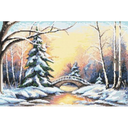 Kanwa z nadrukiem - Zimowy mostek