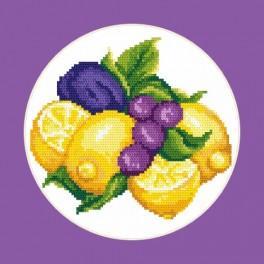 Kanwa z nadrukiem - Cytryny ze śliwkami