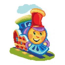 K 8263 Kanwa z nadrukiem - Kolorowa lokomotywa