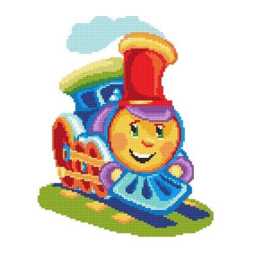 Kanwa z nadrukiem - Kolorowa lokomotywa