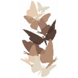 Kanwa z nadrukiem - Motyle w sepii