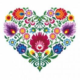 K 8535 Kanwa z nadrukiem - Etniczne serce