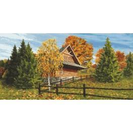 Kanwa z nadrukiem - Chata góralska - jesień