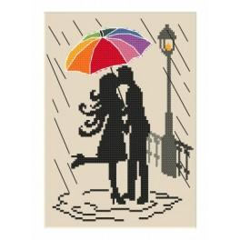 Kanwa z nadrukiem - Kolorowa parasolka - Zakochani