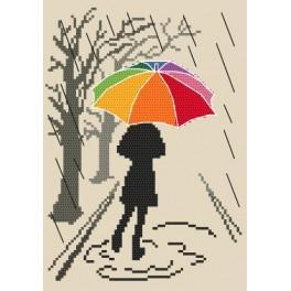 Kanwa z nadrukiem - Kolorowa parasolka - Spacer