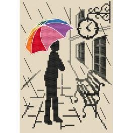 Kanwa z nadrukiem - Kolorowa parasolka – W oczekiwaniu