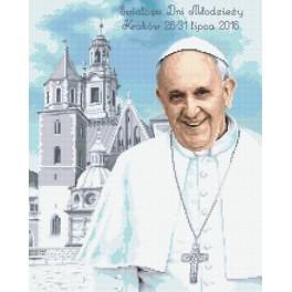 Kanwa z nadrukiem - Papież Franciszek w Krakowie