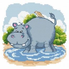 Kanwa z nadrukiem - Zabawny hipopotam