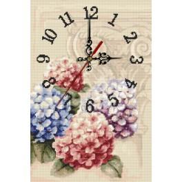 Wzór graficzny online - Zegar z hortensjami