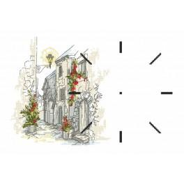 W 10077 Wzór graficzny online - Zegar z uliczką