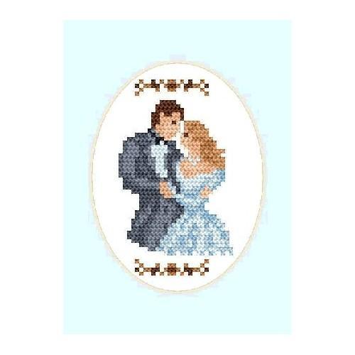 Wzór graficzny online - Kartka ślubna - Młoda para (owal)