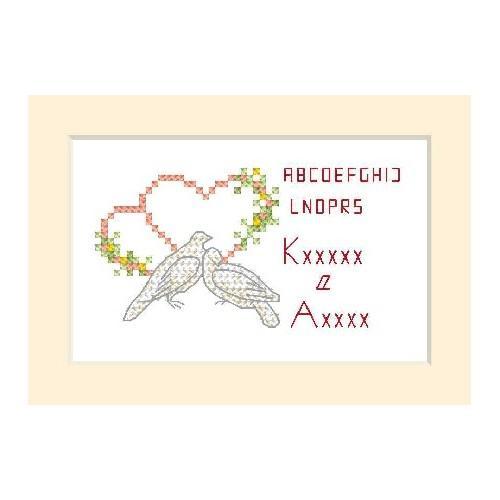Wzór graficzny online - Kartka ślubna - Dwa gołąbki