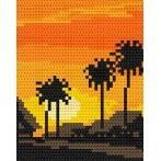 Wzór graficzny online - Zachód słońca - palmy