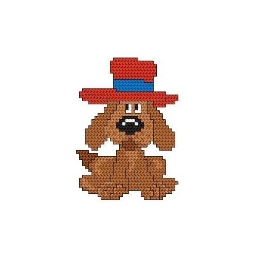 Wzór graficzny online - Piesek w kapeluszu