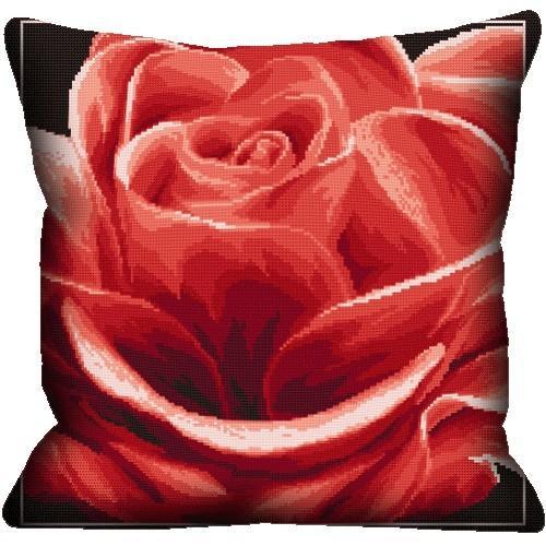 Wzór graficzny online - Poduszka - Róża czerwona haft krzyżykowy