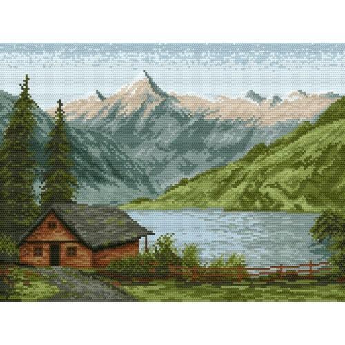 Wzór graficzny online - Górskie jezioro