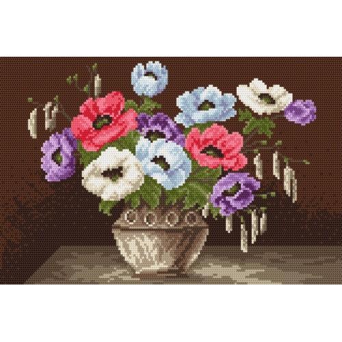 Wzór graficzny online - Anemony w wazonie