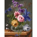 Wzór graficzny online - Kwiaty w szklanym flakonie