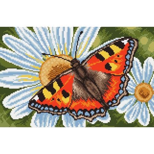Wzór graficzny online - Motylek i margerytki