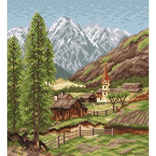 Wzór graficzny online - Wioska w górach