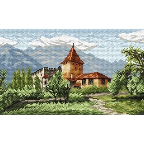 Wzór graficzny online - Zamek w górach