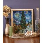 Wzór graficzny online - Droga z cyprysem i gwiazdą - V. van Gogh