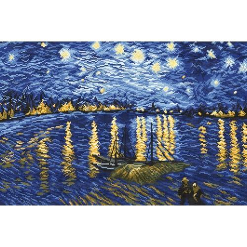 Wzór graficzny online - Gwiaździsta noc nad Rodanem - V. van Gogh