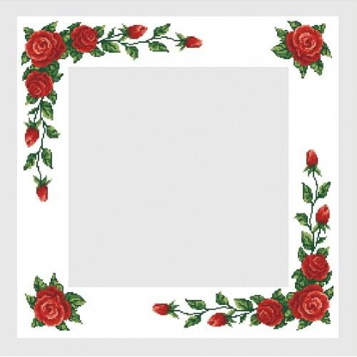 Wzór graficzny online - Obrus z czerwonymi różami - B. Sikora