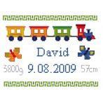 Wzór graficzny online - Moje narodziny- Kolorowy pociąg
