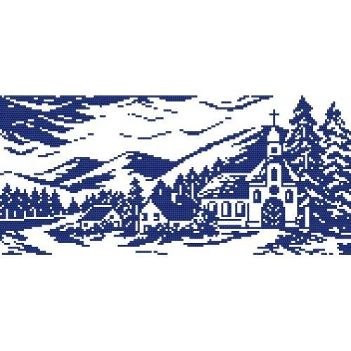 Wzór graficzny online - Pejzaż z kościołem - B. Sikora-Małyjurek