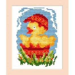 Wzór graficzny online - Kartka wielkanocna - Kurczaczek