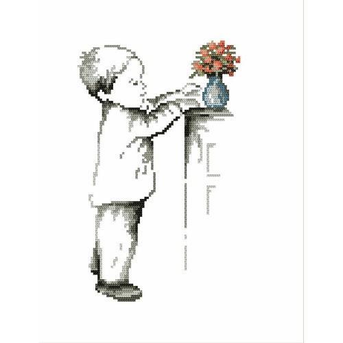 Wzór graficzny online - Chłopczyk z wazonikiem