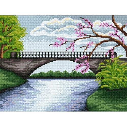 Wzór graficzny online - Most z kwitnącym drzewem