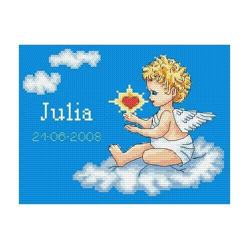 Wzór graficzny online - Moje narodziny- Aniołek na chmurce