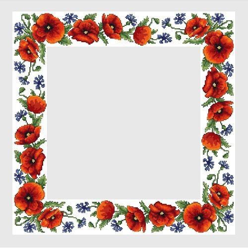Wzór graficzny online - Obrus z polnymi kwiatami