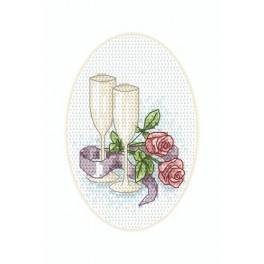 Wzór graficzny online - Kartka ślubna - Kieliszki