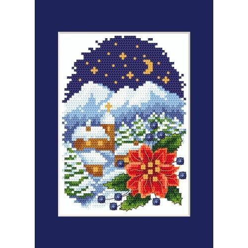 Wzór graficzny online - Kartka świąteczna - Pejzaż z poisencją