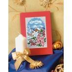 Wzór graficzny online - Kartka świąteczna - Pejzaż z kwiatami