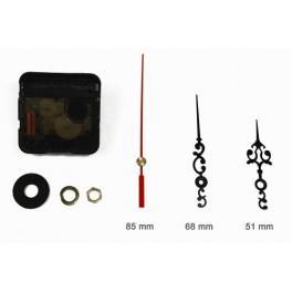 Mechanizm zegarowy - duże czarne ozdobne wskazówki