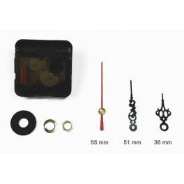 Mechanizm zegarowy - małe czarne ozdobne wskazówki