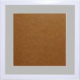 Ramka drewniana - kolor biały - jasnoszare psp (21x21cm)
