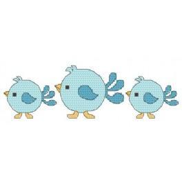 W 8673 Wzór graficzny ONLINE pdf - Śliniak - Niebieskie ptaszki