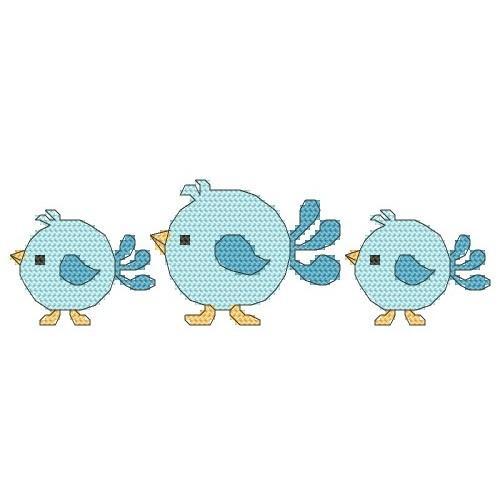 Wzór graficzny online - Śliniak – niebieskie ptaszki