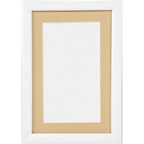 Ramka dewniana - kolor biały - beżowe psp (12,5x19cm)