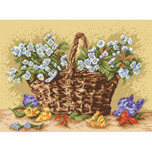 Wzór graficzny - Kwiaty wiśni w wiklinowym koszu