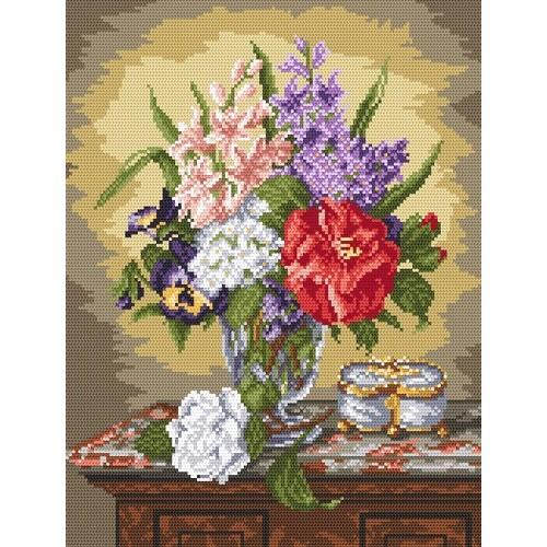 Wzór graficzny - Kwiaty na komodzie