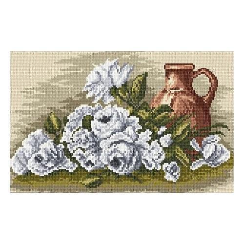 Wzór graficzny - Białe róże