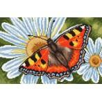 Wzór graficzny - Motylek i margerytki